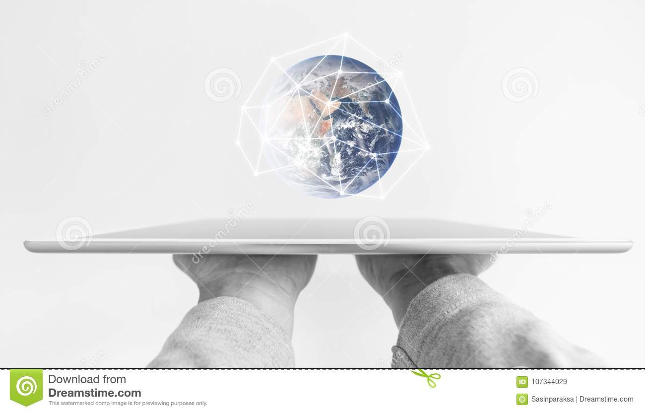 Hands holding modern digital tablet, global network connection and future education technology. Element of this image are furnishe
