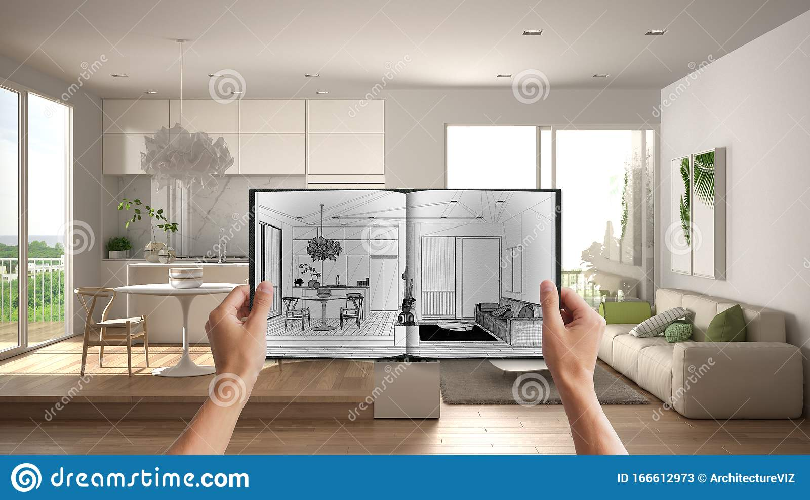 Hands Holding Notepad With Creative Kitchen Design Blueprint Sketch Or Drawing Real Interior Design Project Background Before Stock Image Image Of Design House 166612973