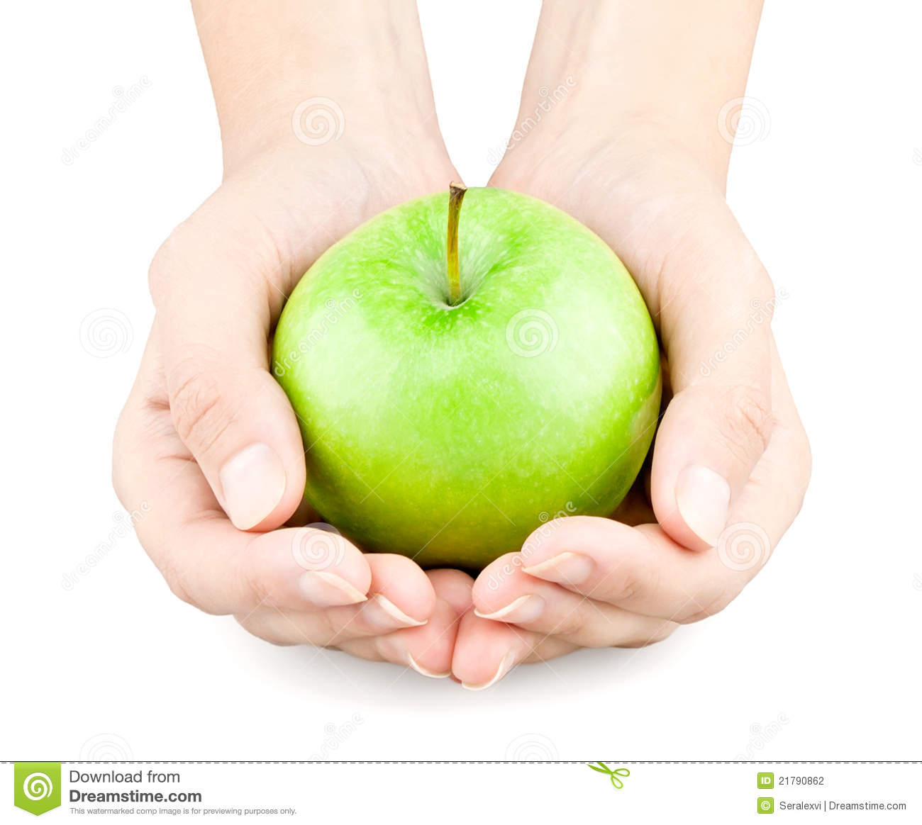 Hands Holding Out An Apple Stock Photography - Image: 21790862