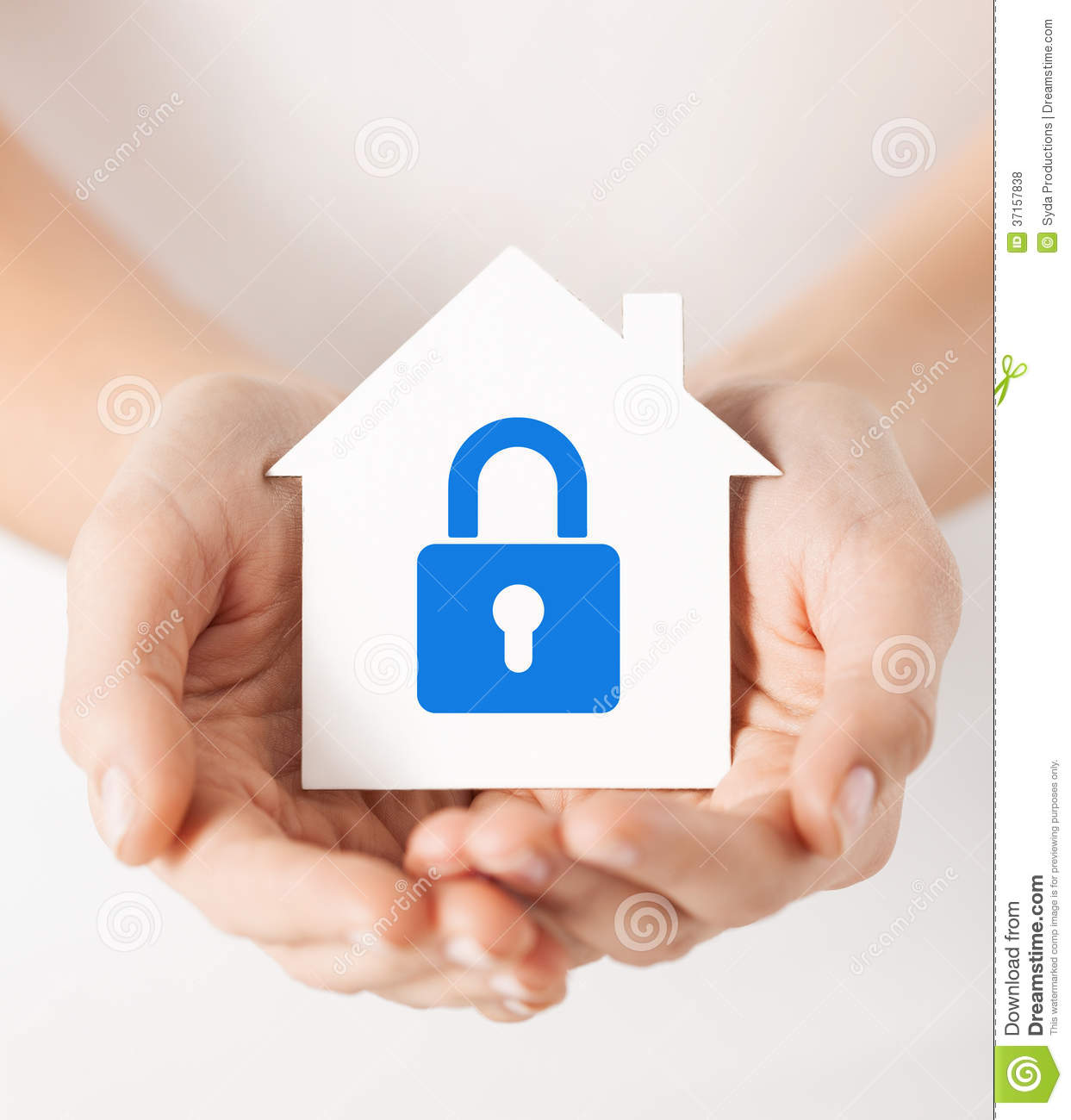 hands holding paper house lock real estate family home security concept closeup picture female white blue 37157838