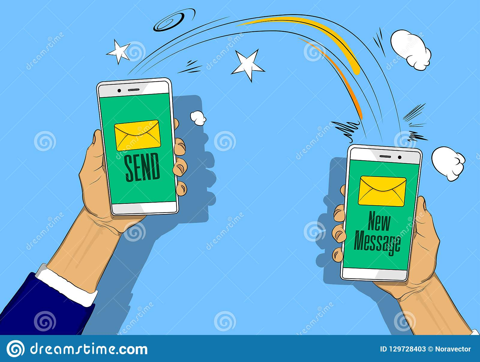 Hands holding phones with letter, send and new message button on the screen.