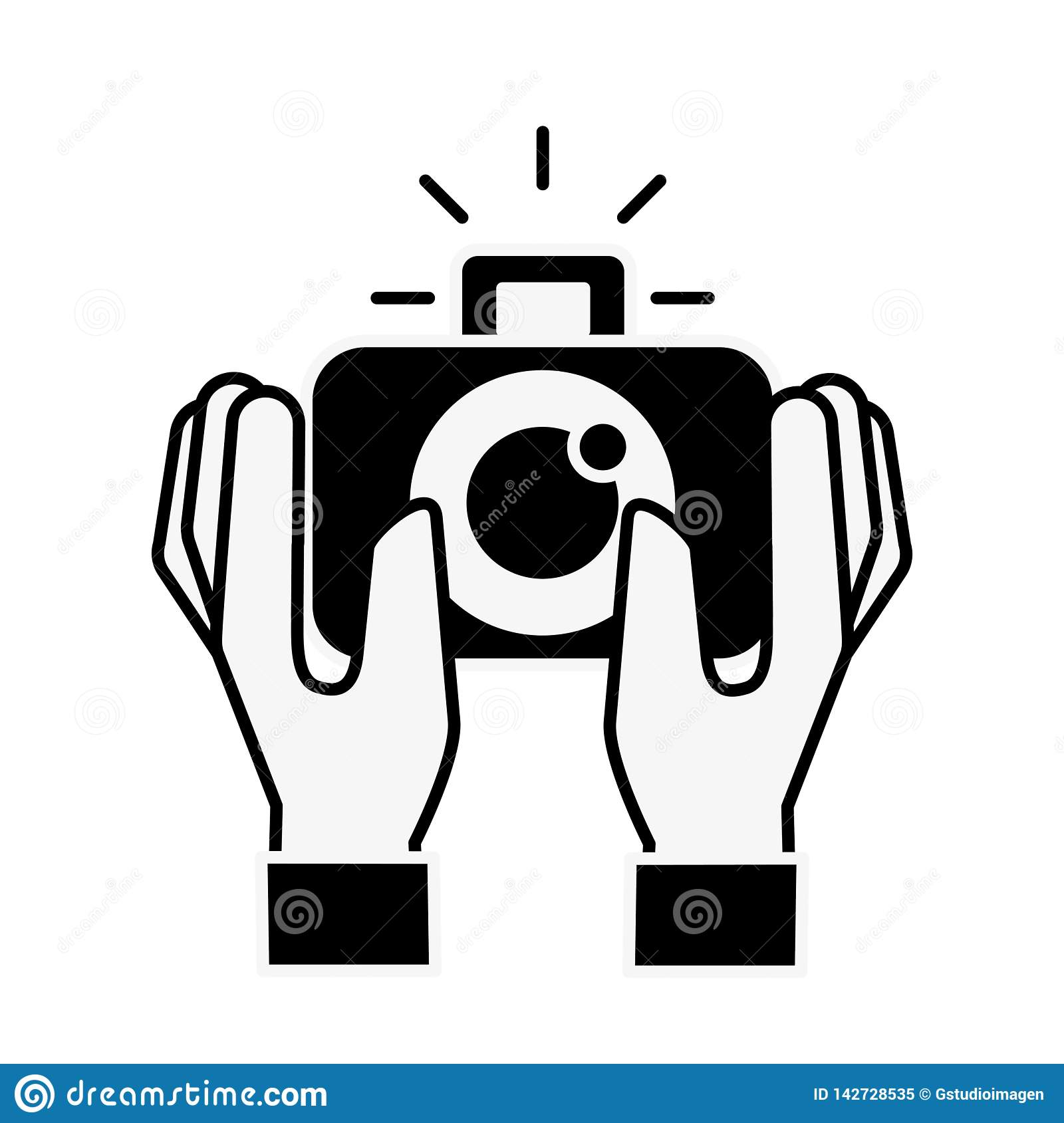 Hands holding photographic camera gadget. Vector illustration monochrome royalty free stock photo
