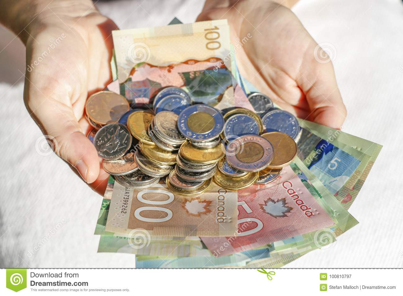 Hands holding Canadian Cash and Bills