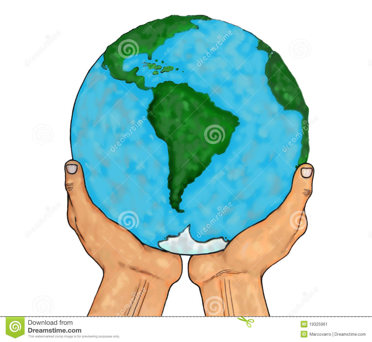 Hands Holding Planet Earth Isolated Over White Stock