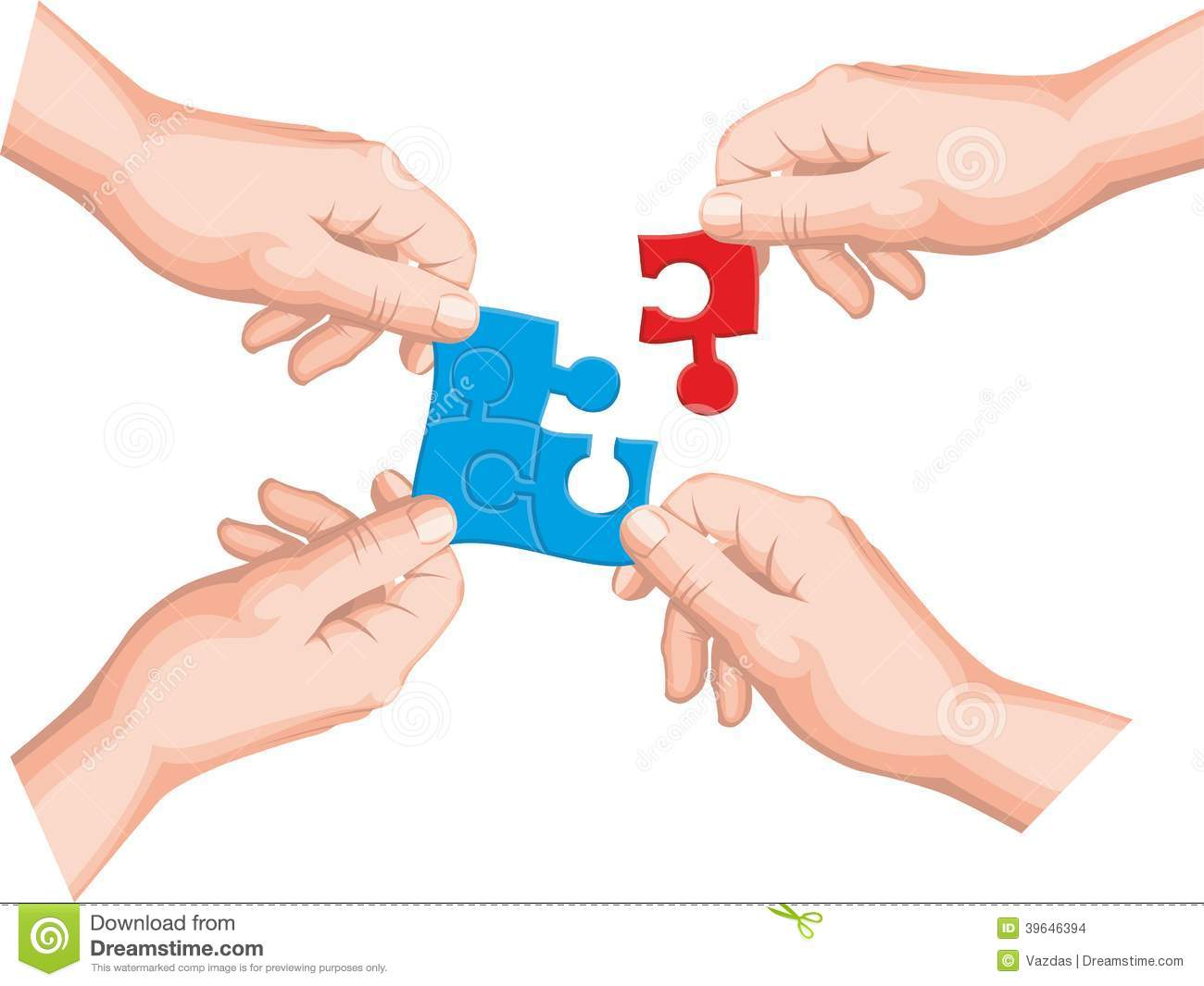 Hands Holding A Puzzle Piece Stock Vector - Image: 39646394