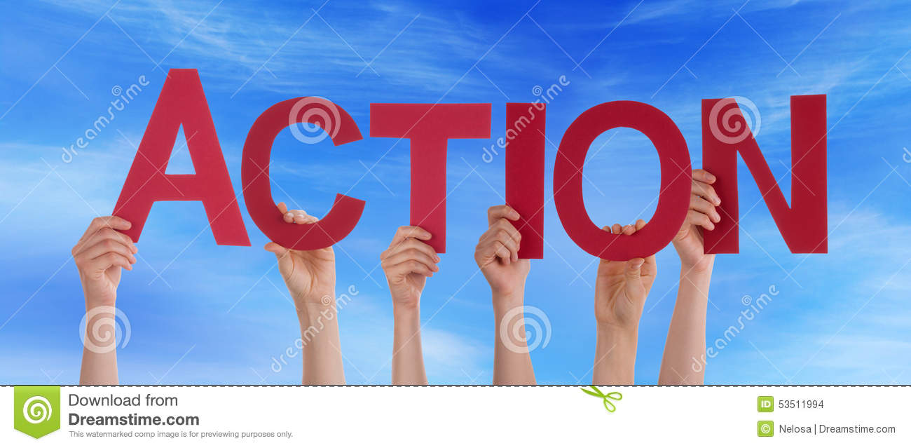 action word puzzle piece wall hole proactive ideas active succes hands holding red straight word action blue sky stock images