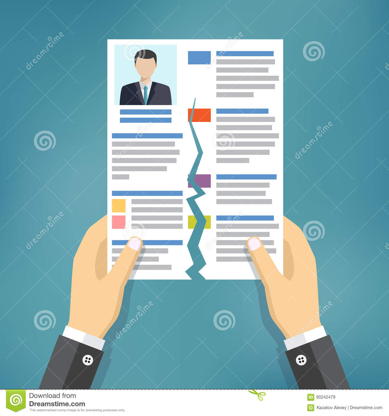 hands holding ripped cv profile  stock vector