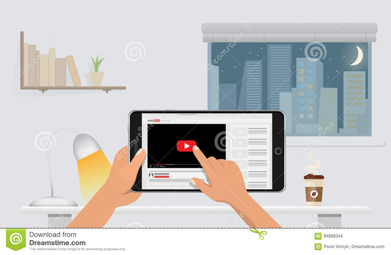 sunny day home office. Hands Holding Smart Phone Mockup With Online Video Blog Screen Sunny Day Home Office ,