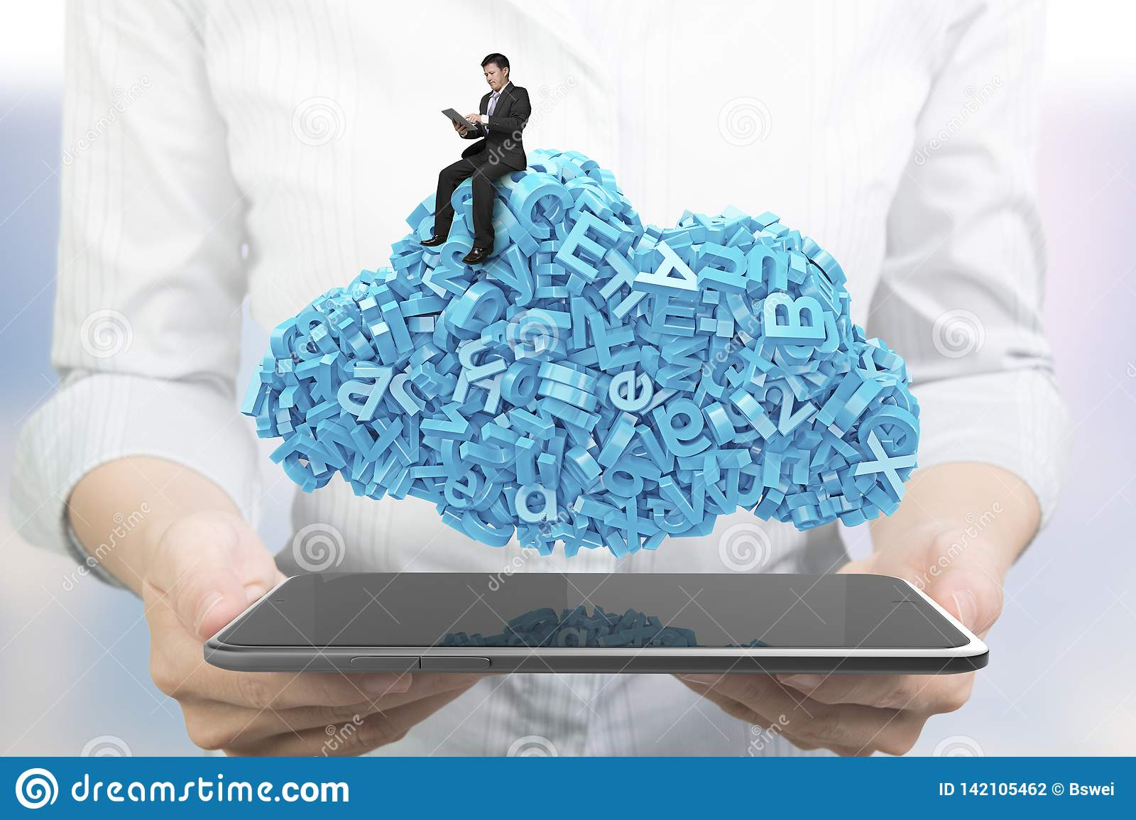 Hands holding smart tablet. Businessman sitting blue characters cloud shape