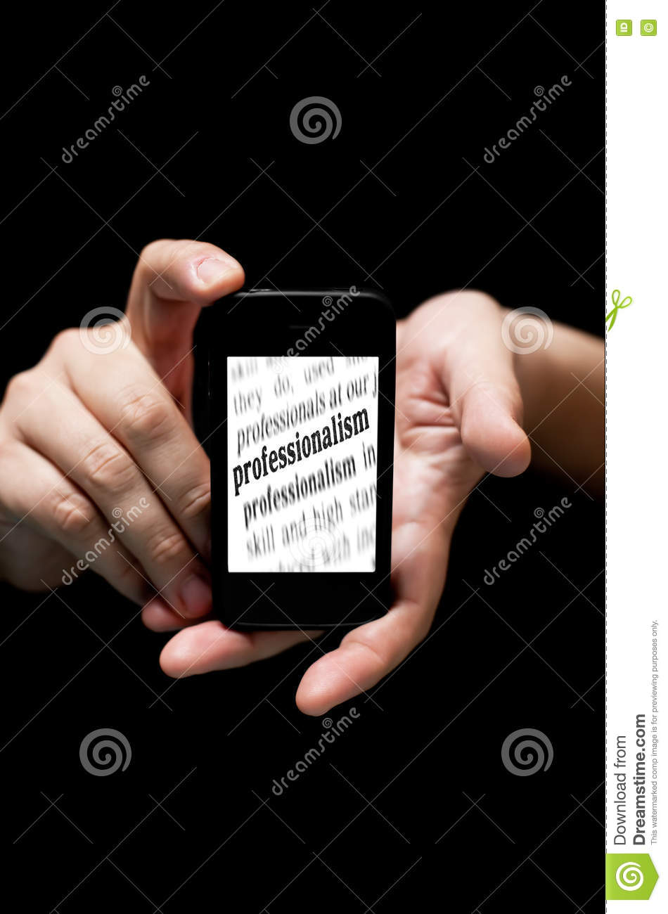 Hands Holding Smartphone, showing the word Professionalism prin