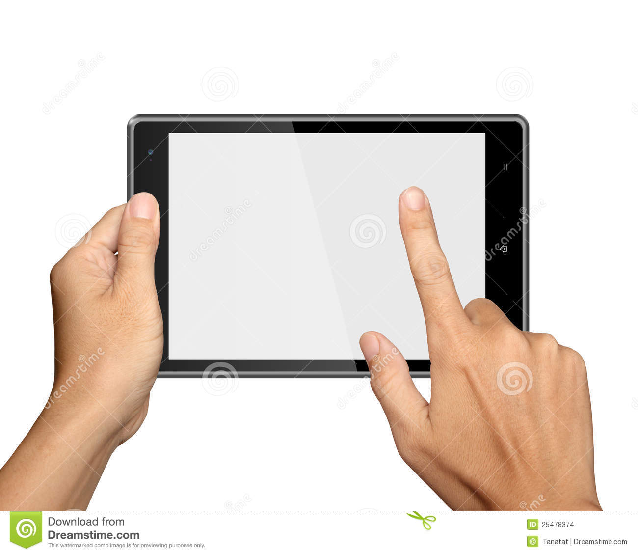 Hands Are Holding Tablet PC On White Stock Images - Image: 25478374