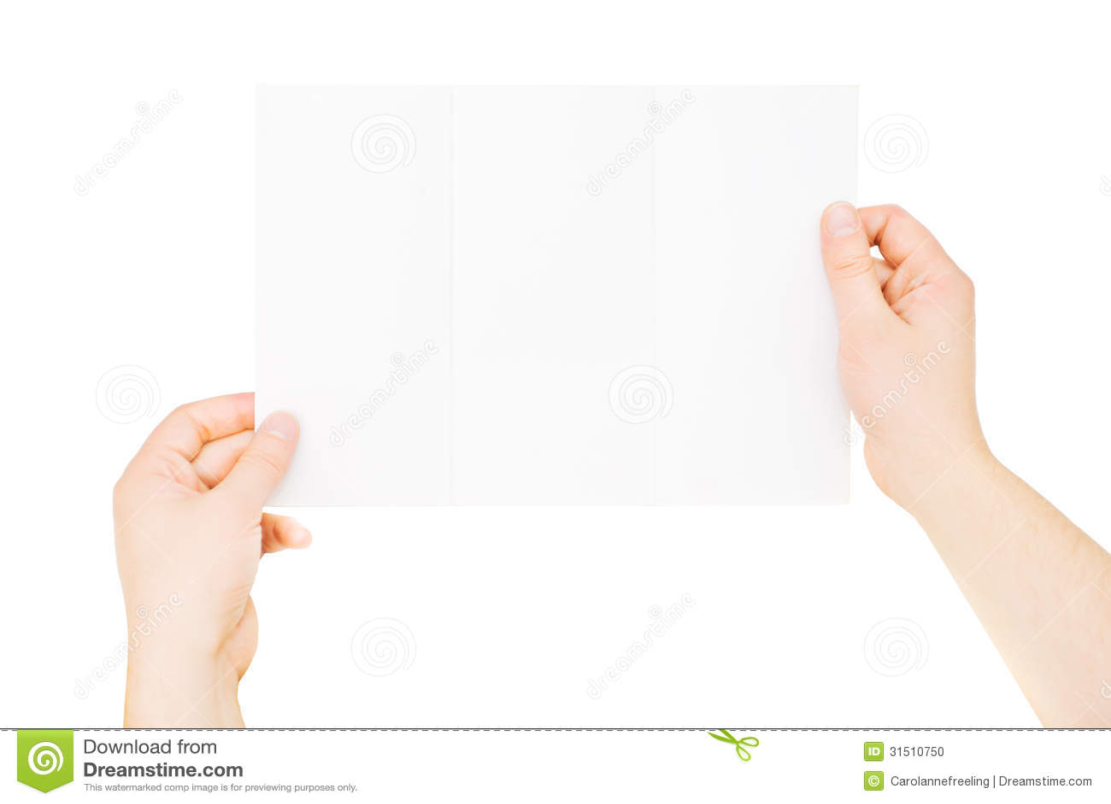 hands holding trifold empty brochure  slightly folded