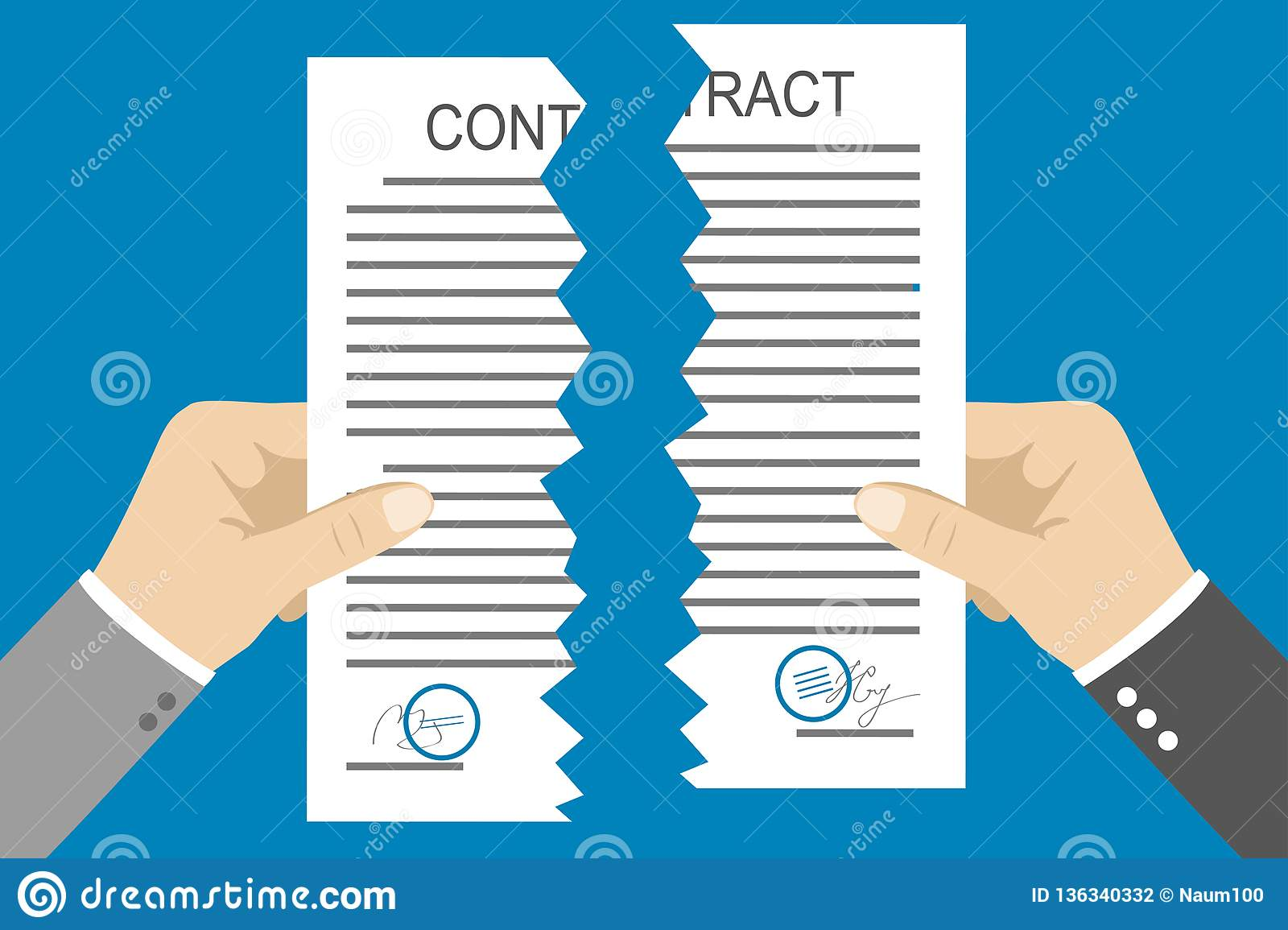 Hands Holding Two Parts Torn Contract Stock Vector