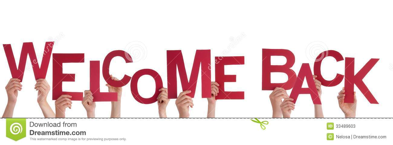 Hands Holding Welcome Back Stock Photos - Image: 33489603