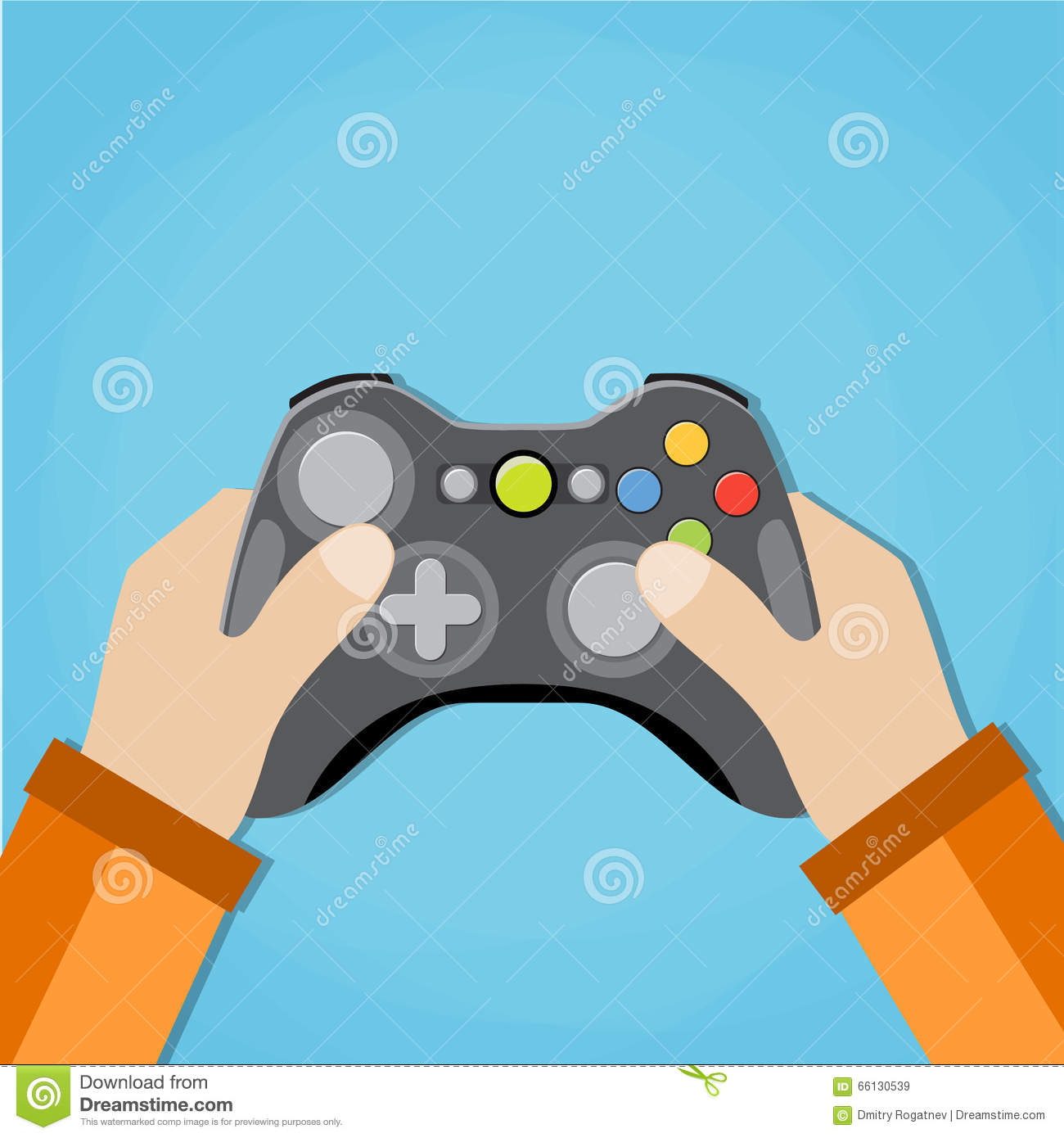 Hands Holding Wired Old School Gamepad Stock Vector