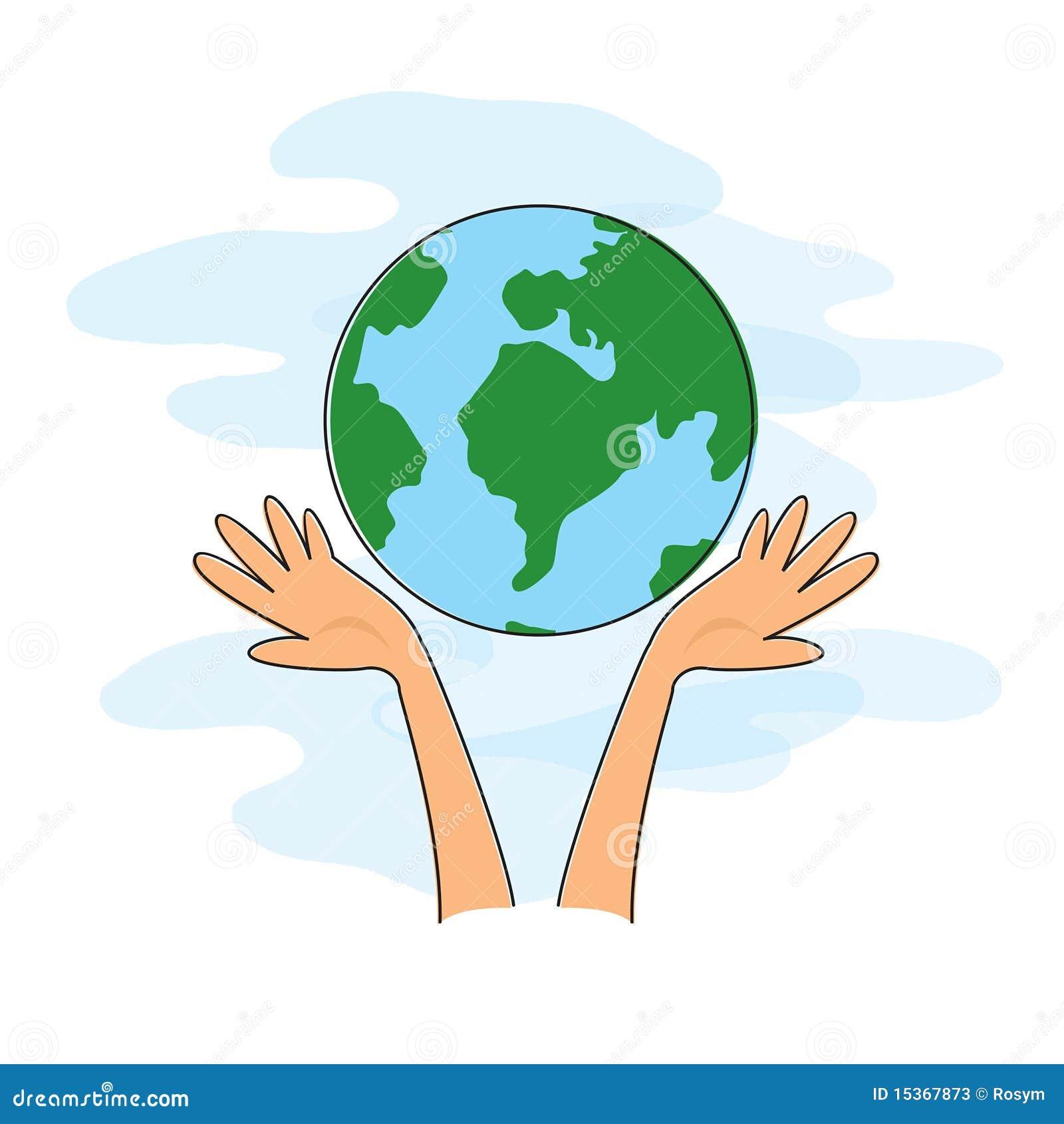 2 hands holding a globe cartoon version