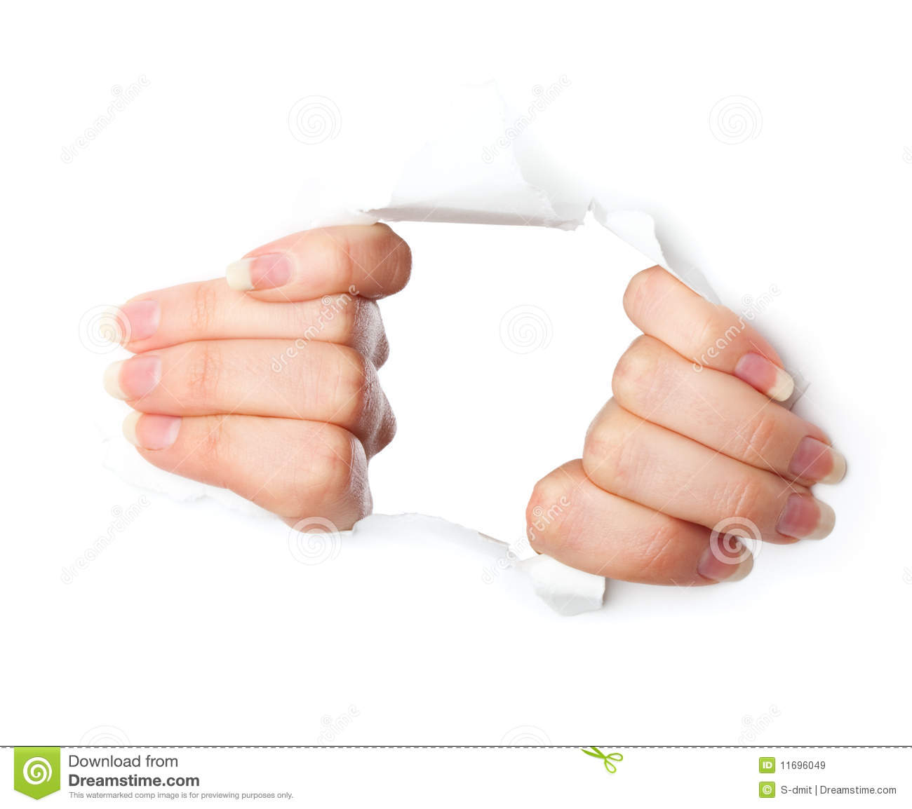 Hands And Hole In Paper Royalty Free Stock Images Image
