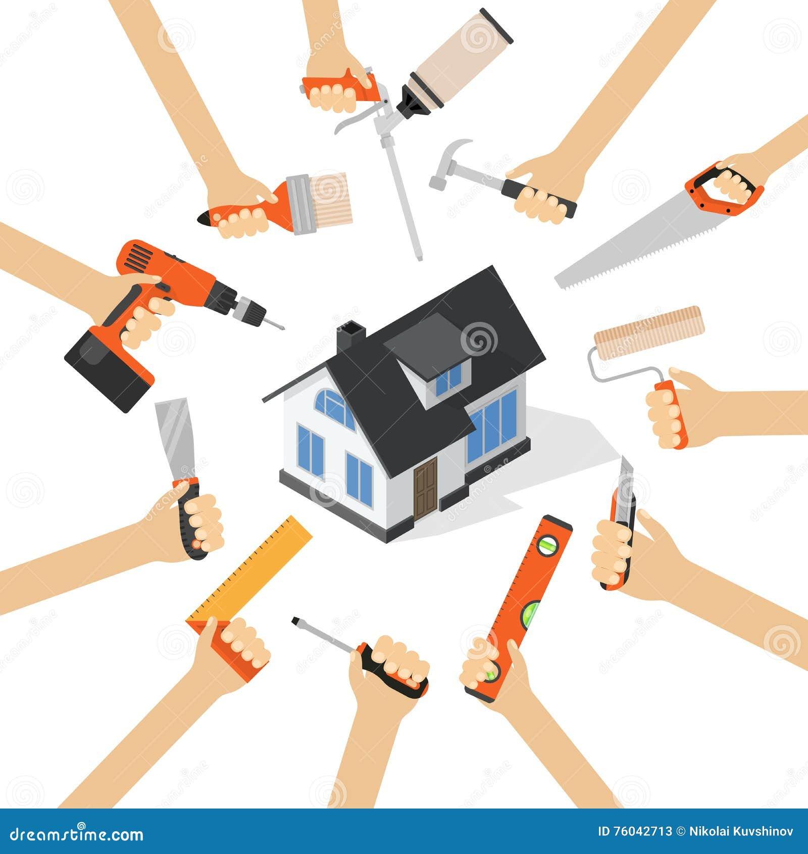 Hands With Home Repair Diy Renovation Housework Tools ...