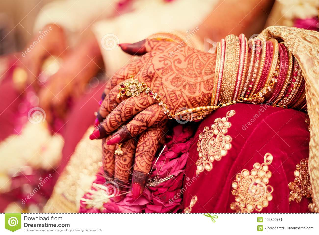 Hands Of An Indian Bride Mehndi Or Henna During A Wedding Ceremony
