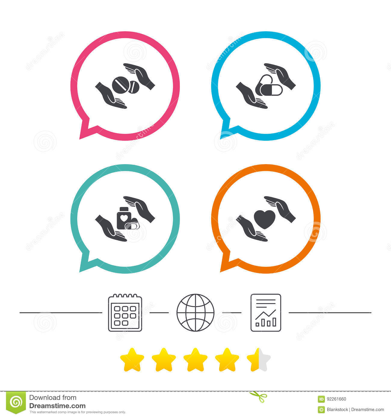 Hands Insurance Icons  Health Medical Pills  Stock Vector