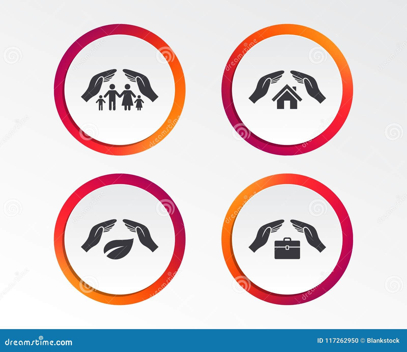 Hands Insurance Icons Human Life Assurance Stock Vector
