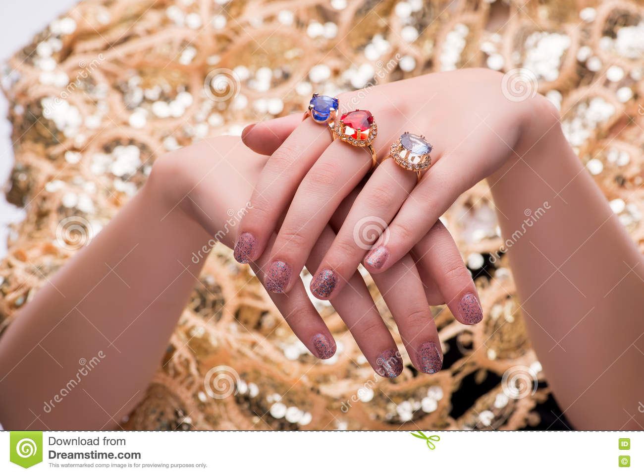 The Hands With Jewellery Rings In Fashion Concept Stock Image ...