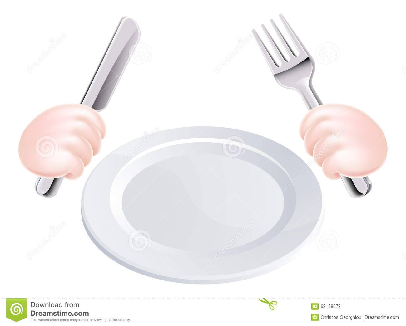 Hands Knife And Fork With Plate Stock Vector - Image: 62188079 Table Knife Clipart