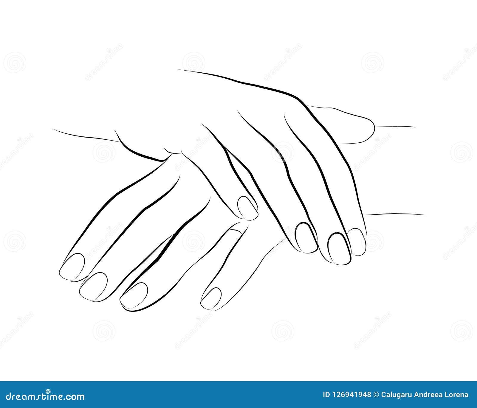 2 Hands Linework Manicure Vector Stock Vector ...