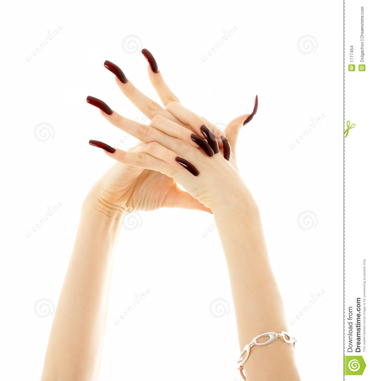 hands with long acrylic nails stock images