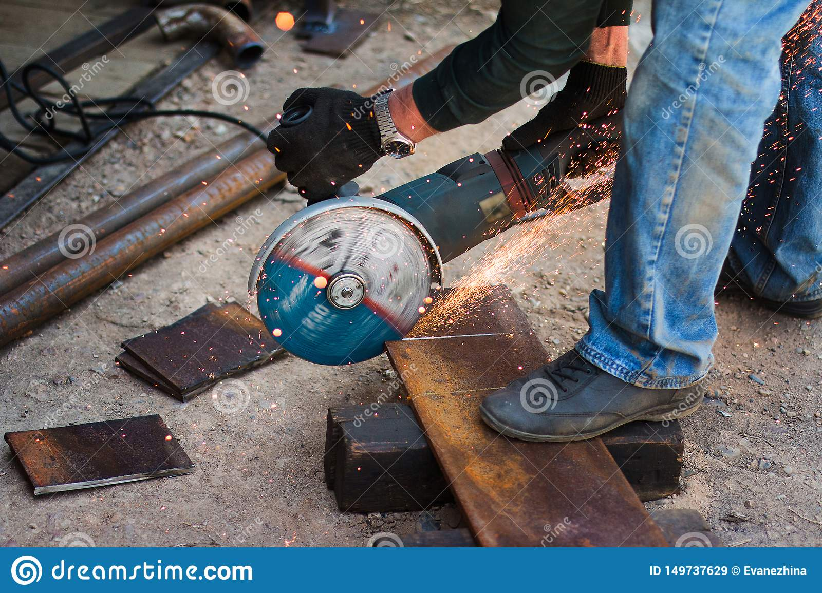 Hands Of Man With Steel Cutter Tool  The Worker Outside