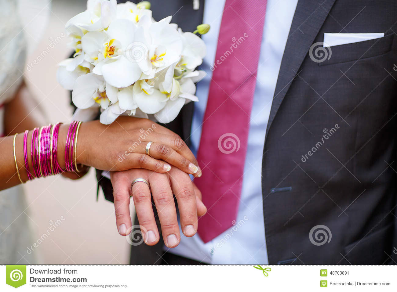 Hands Of Man And Woman With Rings And Traditional Indian Jewelry ...
