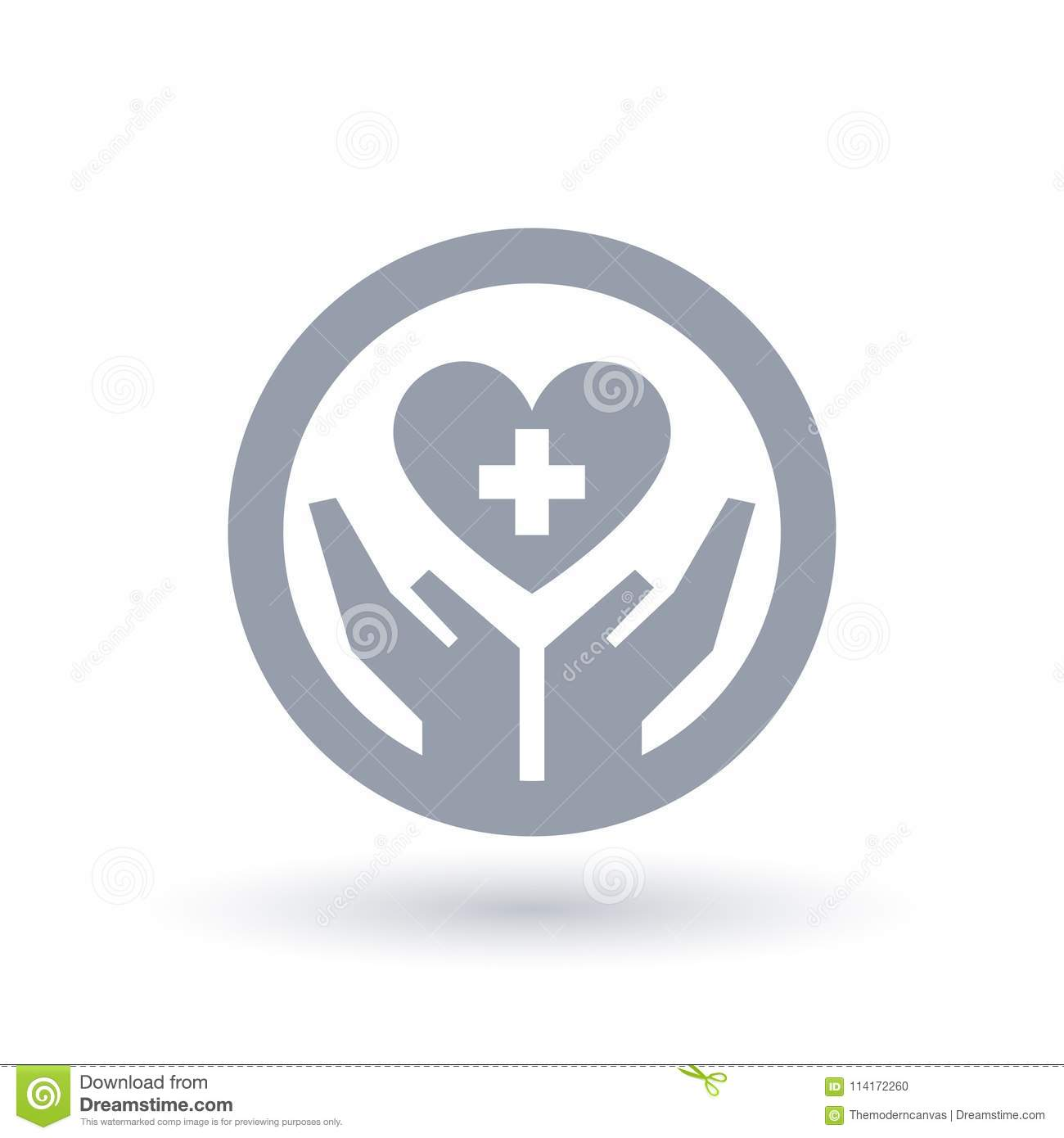 Hands With Medical Cross Heart Icon  Healthcare Symbol