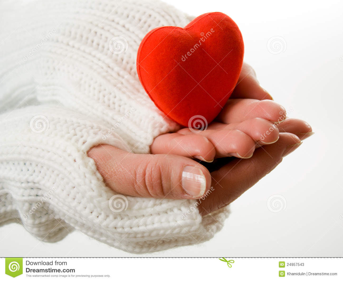 Knitting Pattern For Hand Holding Mittens : Hands In Mittens Holding Heart Stock Photos - Image: 24957543