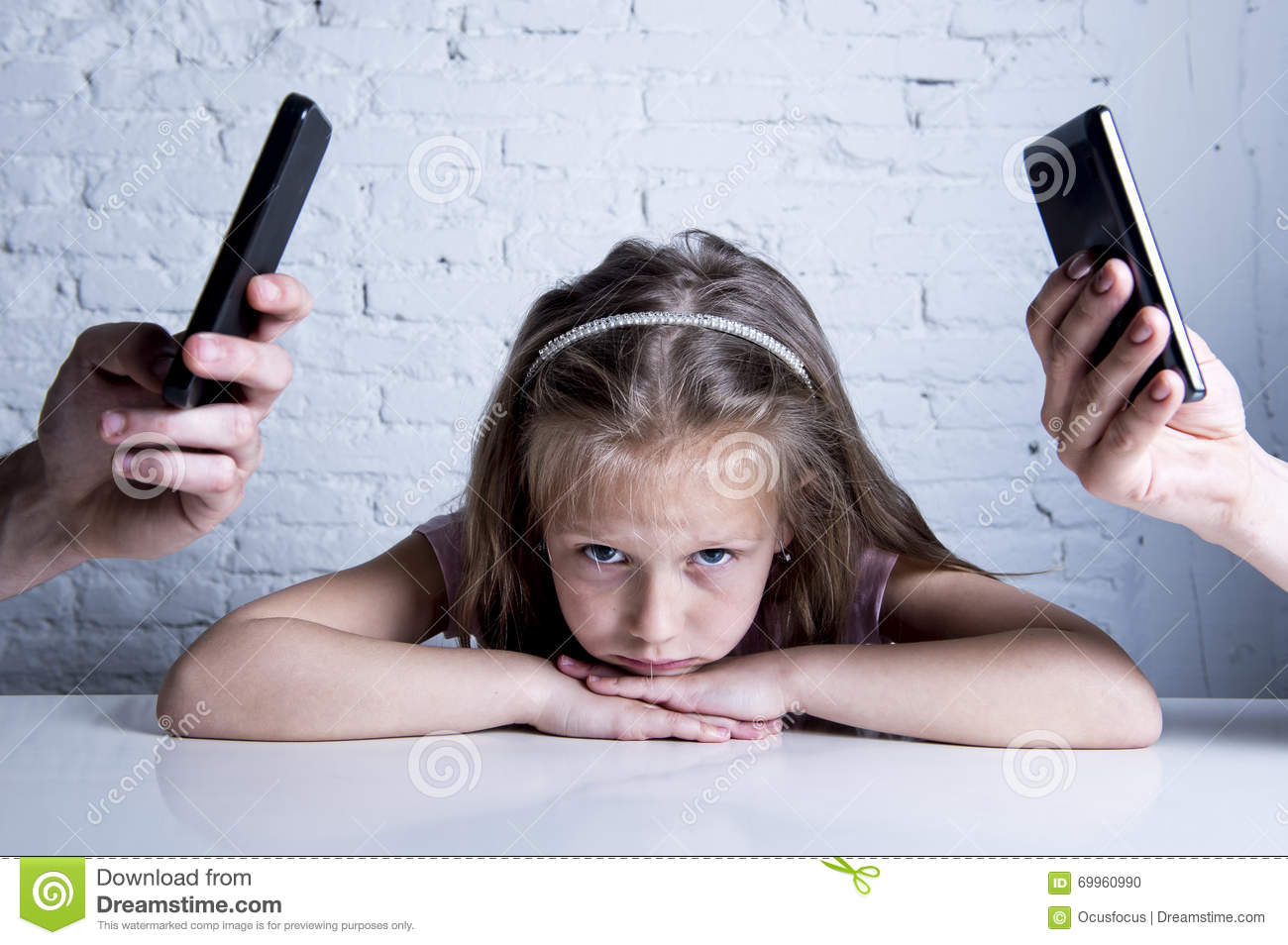 bbda5522e Hands of internet and network addict mother and father using mobile phone  neglecting little sad ignored daughter bored and lonely feeling abandoned  and ...