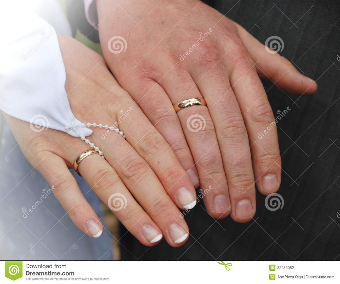 Hands Of A Newly-married Couple Stock Photo - Image: 32053082