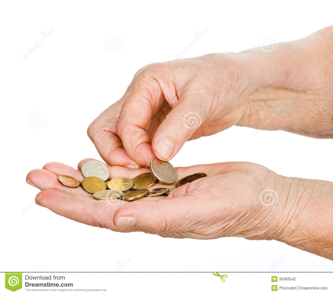 Hands of the old man touching last coins.