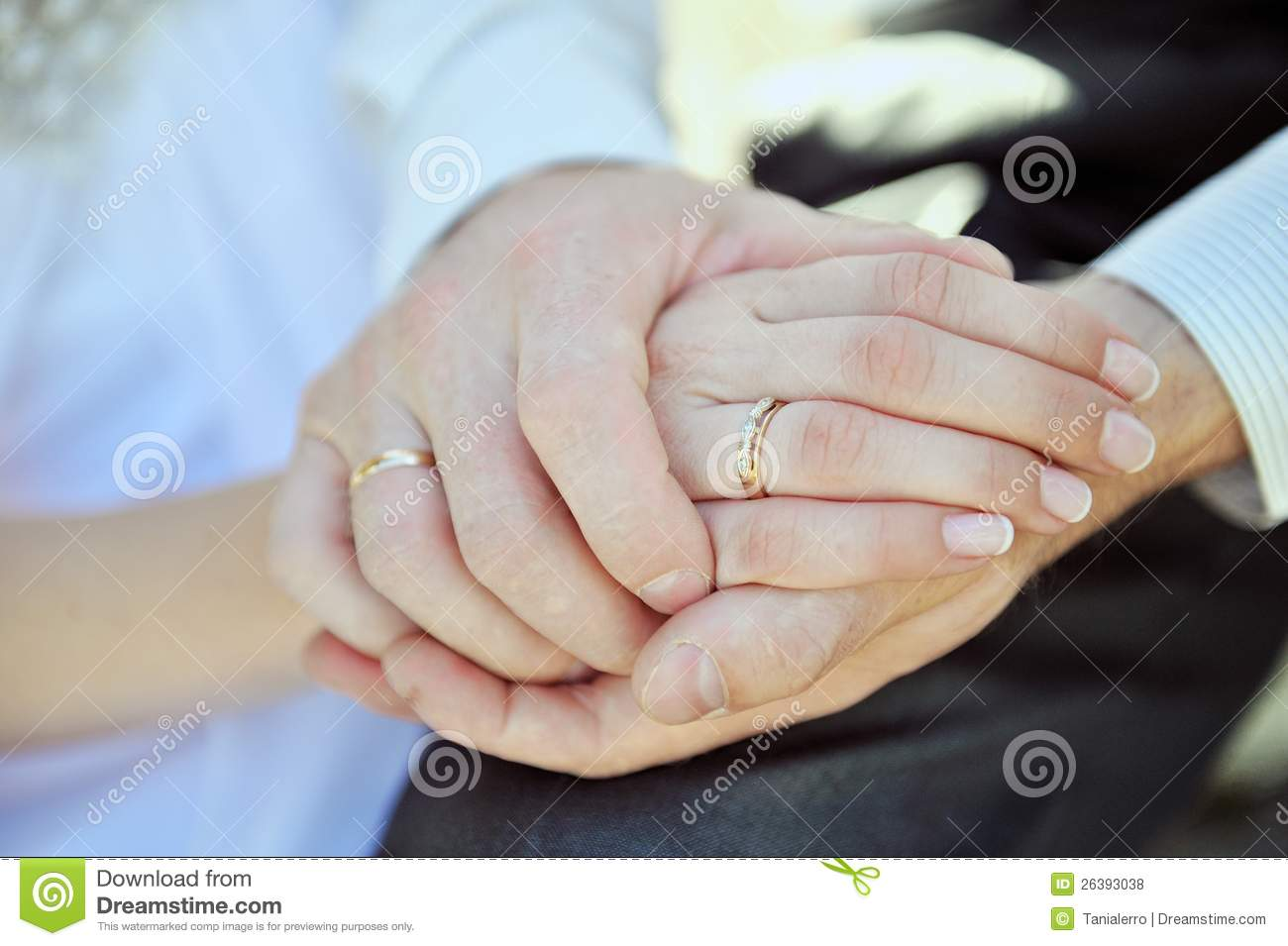 Hands Of Pair With A Beautiful Wedding Ring Royalty Free
