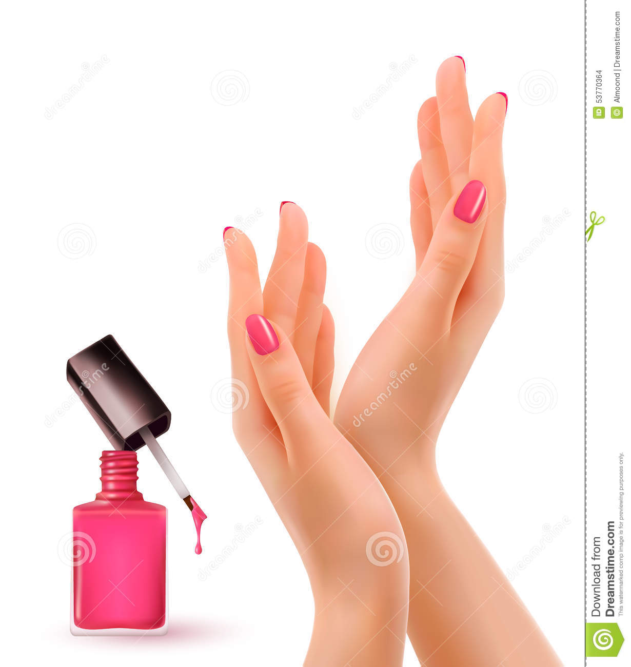 Nail Polish Colors For Younger Looking Hands: Hands With Pink Polished Nails. Nail Polish Bottle. Stock