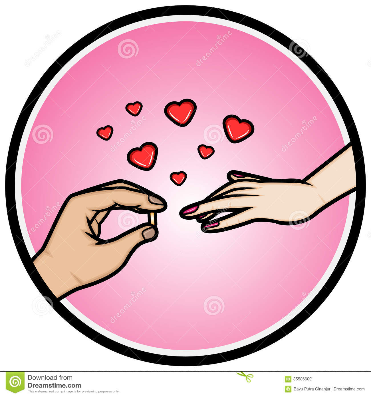 Hands Placing An Wedding Ring On A Finger Stock Vector ...