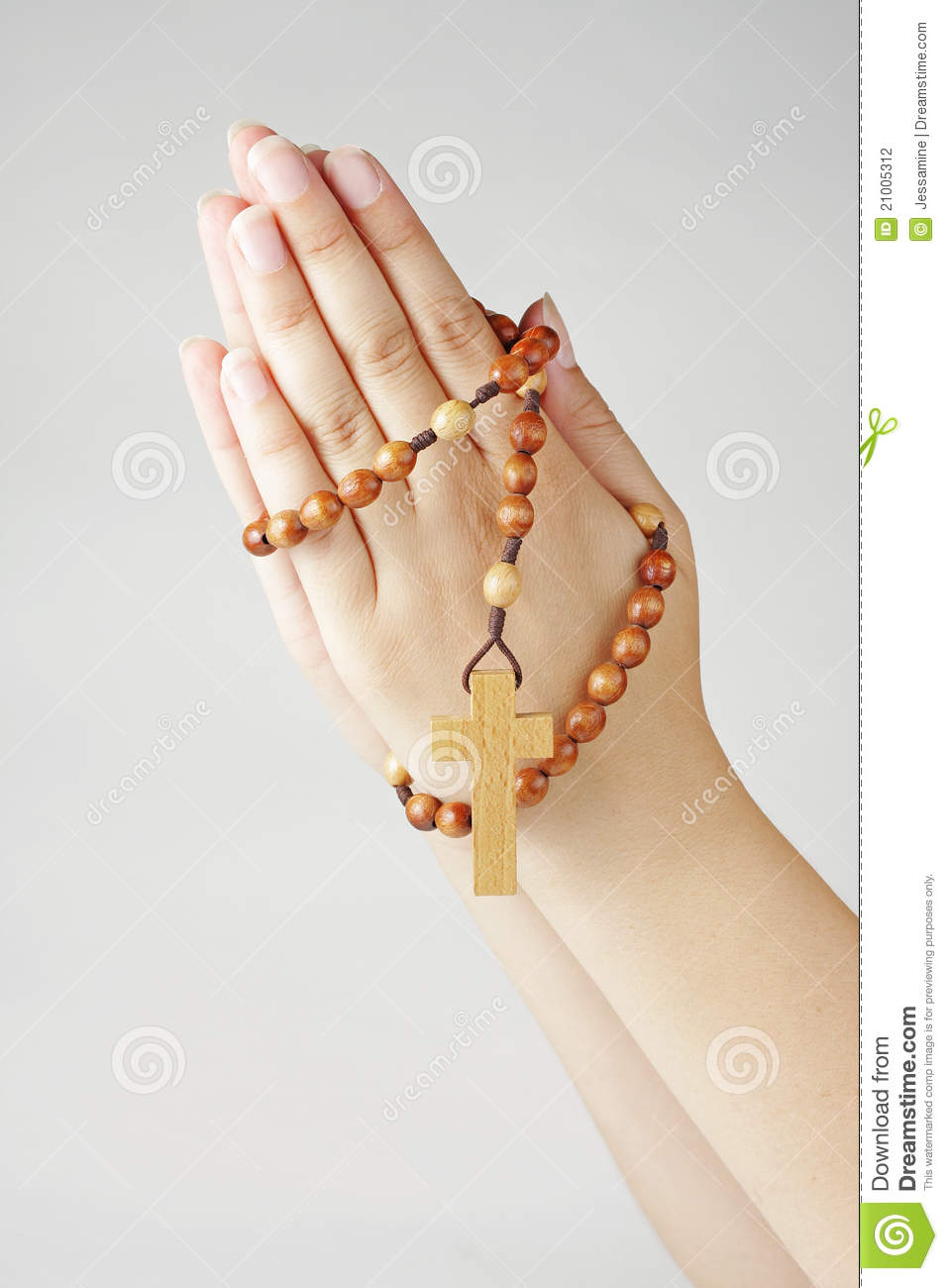 Hands In Prayer With A Rosary Stock Photography - Image: 21005312