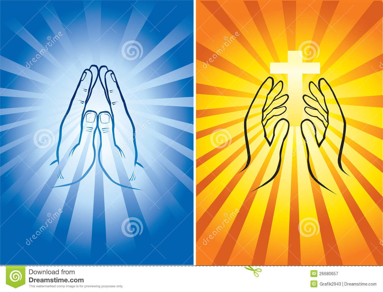 hands praying and holding shining cross royalty free stock