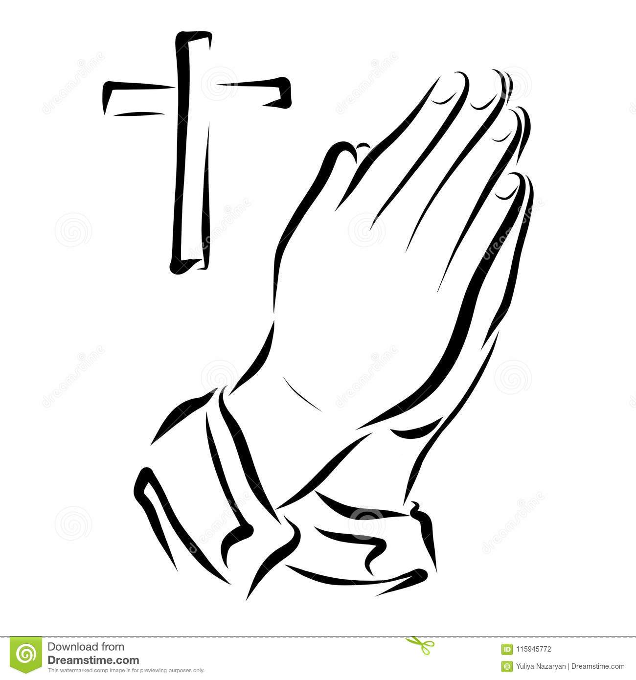 Hands Of A Praying Person And A Cross Stock Illustration
