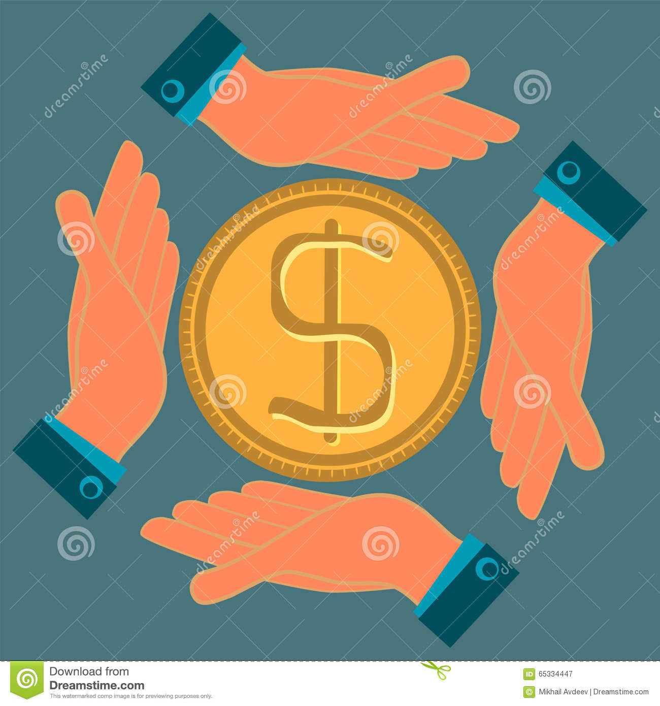 Hands protect a gold dollar coin.