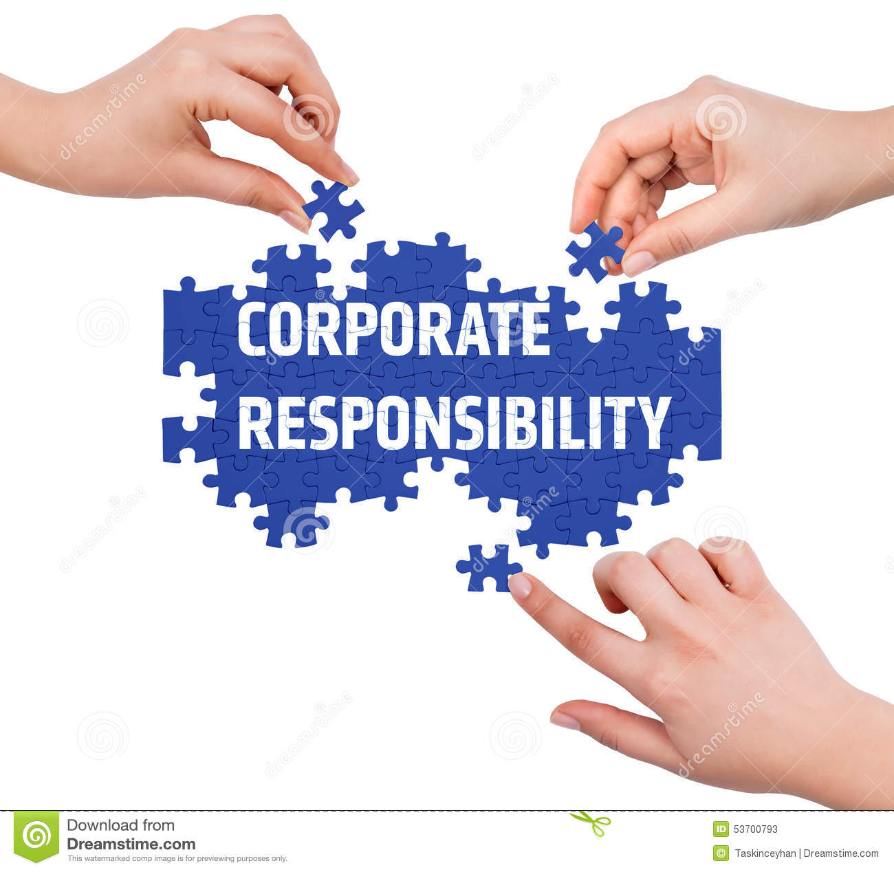Hands With Puzzle Making CORPORATE RESPONSIBILITY Word ...