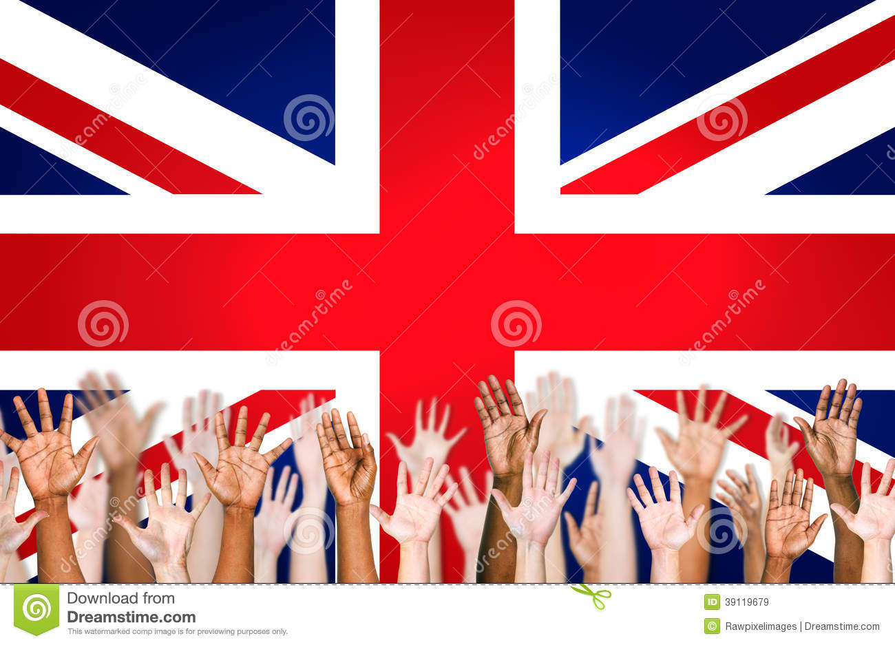 Hands Raised With British Flag As A Background Stock Photo