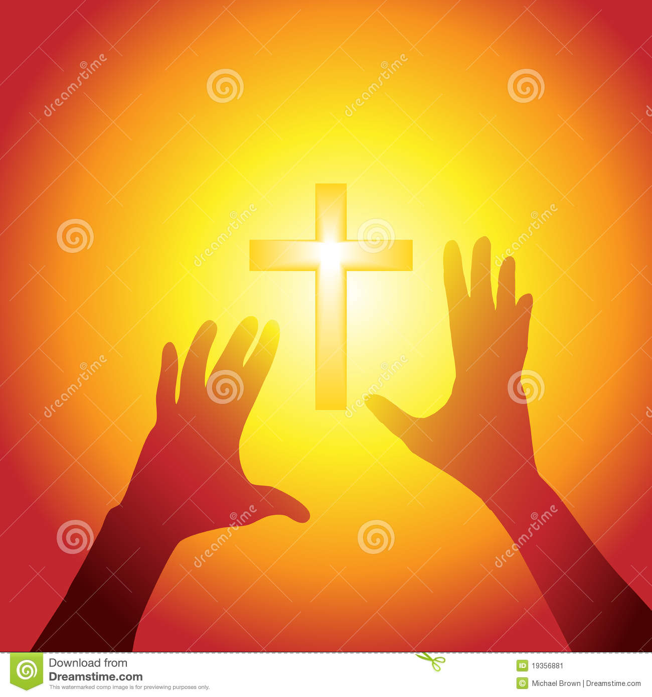 Hands Reach Out To Cross In Bright Light Stock Image - Image: 19356881