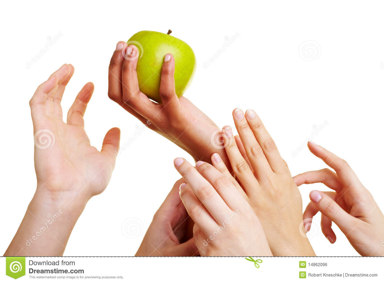 Hands reaching for an apple