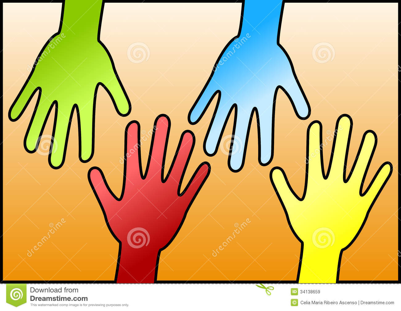 Love Each Other Clip Art: Hands Reaching Eachother For Help Royalty Free Stock