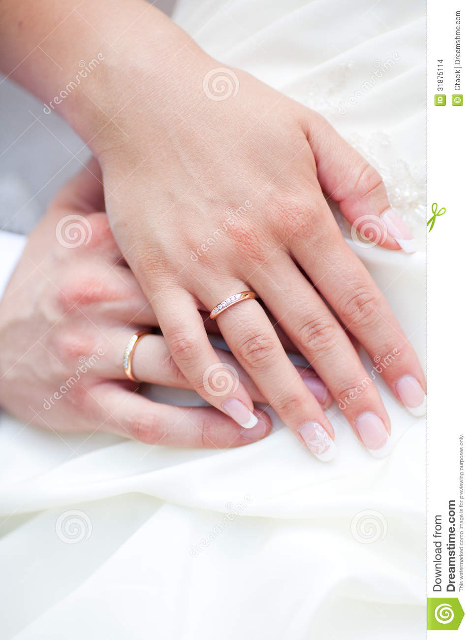 Hands With Rings Of A Wedding Couple Stock Photo - Image of hand ...
