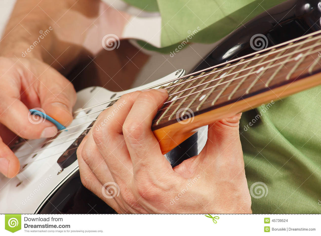 Hands Of A Rock Guitarist Put Guitar Chords Stock Photo Image Of